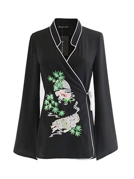Ericdress V-Neck Embroidery Lace-Up Shirt