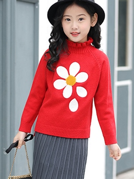 Ericdress High Neck Floral Long Sleeve Sweet Girl's Sweater