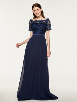 Ericdress Bateau Short Sleeves A Line Bridesmaid Dress