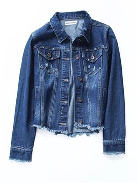 Ericdress Slim Lapel Single-Breasted Denim Jacket