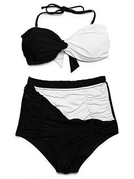 Ericdress Color Block Pleated Highwaist 2-Pcs Bikini Set