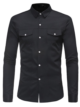 Ericdress Plain Lapel Button Men's Casual Shirts