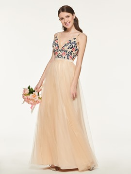 Ericdress Spaghetti Straps A-Line Tulle Bridesmaid Dress