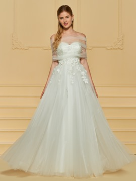 Ericdress Sweetheart Appliques A Line Tulle Wedding Dress