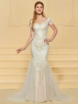 Ericdress Mermaid Tulle Short Sleeves Wedding Dress