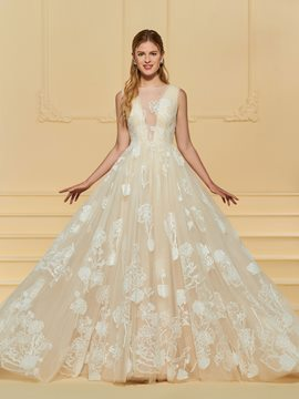 Ericdress Button Appliques Champagne Wedding Dress