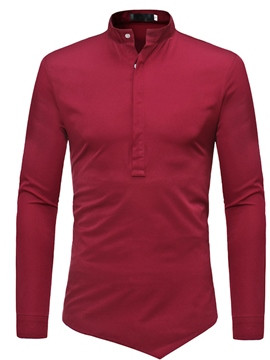 Ericdress Men's Plain Stand Collar Half Zip Shirt