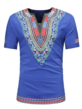 Ericdress Ethnic Print Men's Short Sleeve T Shirt