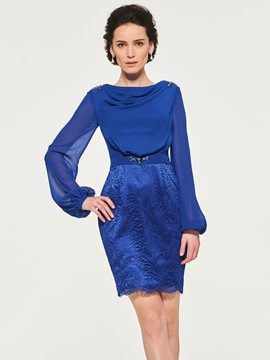 Ericdress Short Chiffon Long Sleeves Mother of the Bride Dress