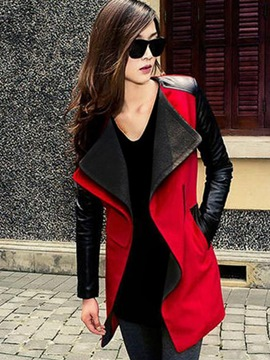 Ericdress Lapel Patchwork Mid-Length Coat