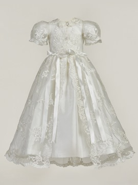 Ericdress Lace Baby Girl Christening Baptism Gown with Bonnet