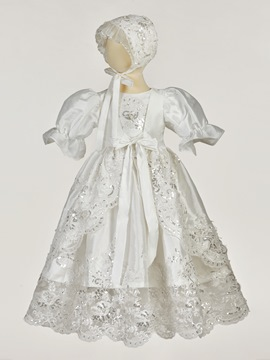 Ericdress Sequins Appliques Girls Christening Gown with Bonnet