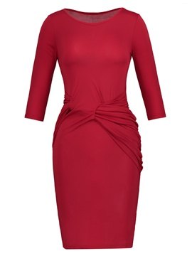 Ericdress Solid Color Pleated 3/4 Sleeve Women's Sheath Dress