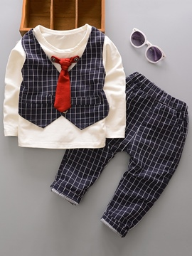 ericdress bowtie patchwork plaid boy's 2-pcs outfit
