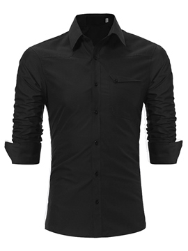 Ericdress Plain Lapel Slim Fit Men's Dress Shirt With Pocket