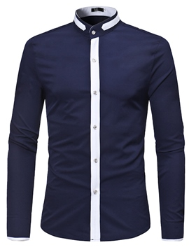 Ericdress Patchwork Stand Collar Men's Plain Slim Fit Shirts