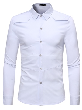Ericdress Men's Lapel Plain Slim Fit Casual Shirt
