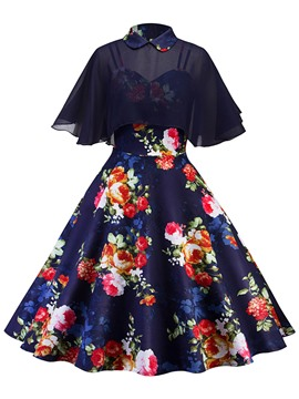Ericdress Cape and Dress Women's Two Piece Set