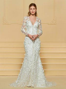 Ericdress Pearls Mermaid Long Sleeves Lace Wedding Dress