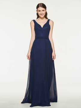 Ericdress V-Neck A-Line Sashes Bridesmaid Dress