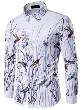 Ericdress Men's Floral Bird Printed Slim Fit Shirts