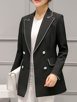 Ericdress Plain Mid-Length Double-Breasted Blazer
