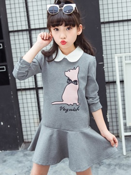 Ericdress Peter Pan Collar Cat Print Pleated Girl's Dress