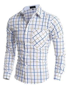 Ericdress Men's Lapel Plaid Patchwork Slim Fit Shirts