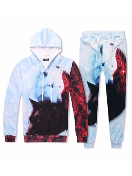 Ericdress Wolf Print Men's Sports Suits Hoodie Pants