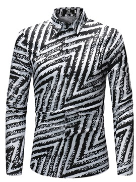 Ericdress Lapel Men's Zebra Stripe Slim Fit Shirts