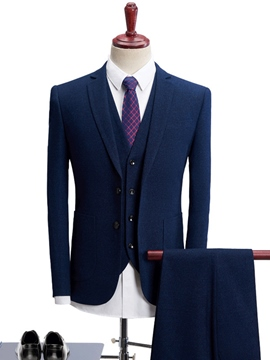 Ericdress Men's Dark Blue Casual Slim Fit Suit Blazer Pants Vest