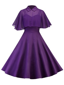 Ericdress Peter Pan Collar Cape and Dress Women's Two Piece Set