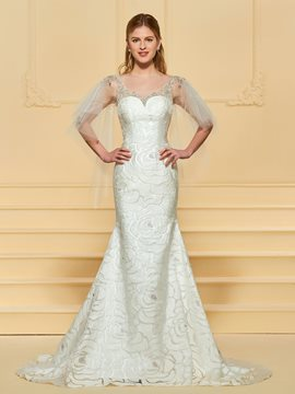 Ericdress Scoop Mermaid Lace Wedding Dress