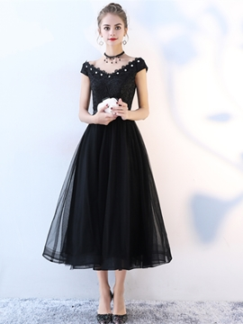 Ericdress A Line Cap Sleeve Lace Black Prom Dress