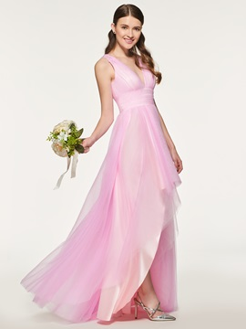 Ericdress V Neck Asymmetry Tulle Bridesmaid Dress