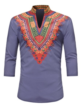 Ericdress Stand Collar Ethnic Print Men's Short Sleeve T Shirt