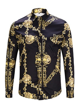 Ericdress Lapel Black Golden Print Men's Slim Fit Shirts