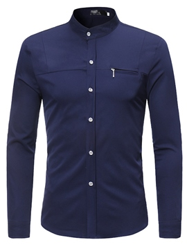Ericdress Plain Stand Collar Men's Single Breasted Shirts