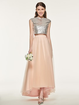 Ericdress Tulle Two Pieces Asymmetry Bridesmaid Dress