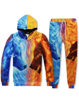 Ericdress Wolf Print Color Block Men's Sports Suits Hoodie Pants