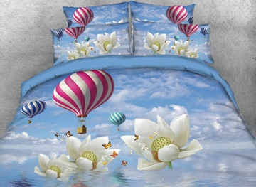 Vivilinen 3D Hot Air Balloon and Lotus with Butterflies Printed 4-Piece Bedding Sets/Duvet Covers