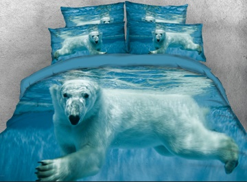 Vivilinen 3D Polar Bear in the Ocean Printed 4-Piece Bedding Sets/Duvet Covers