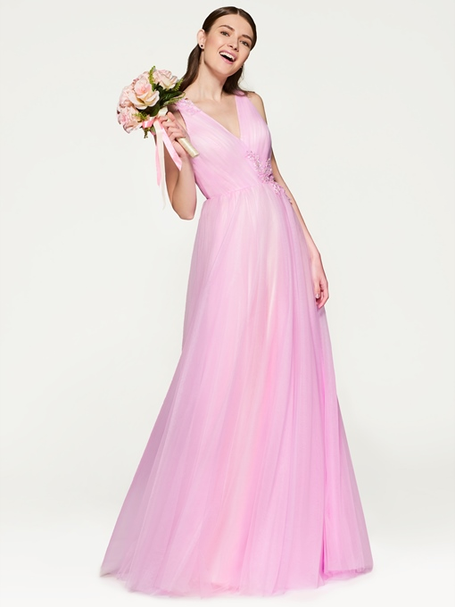 Ericdress V Neck A Line Bridesmaid Dress