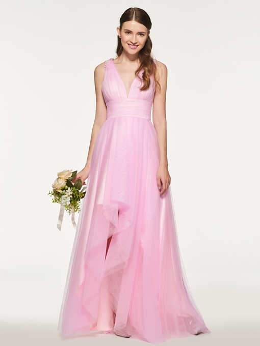 Ericdress Straps Appliques High Low Bridesmaid Dress