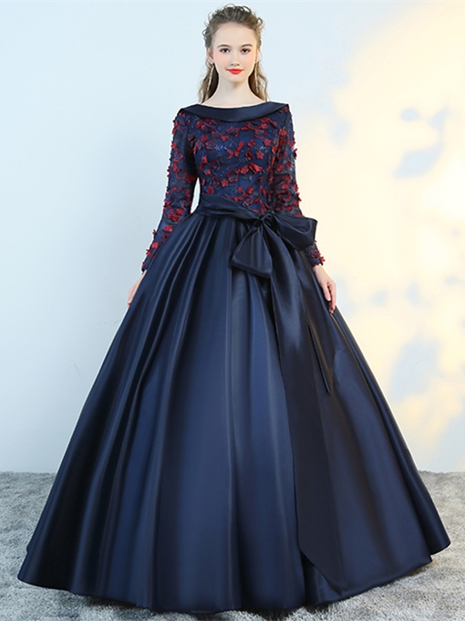 Ericdress Flower Applique Long Sleeve Ball Evening Dress With Bowknot