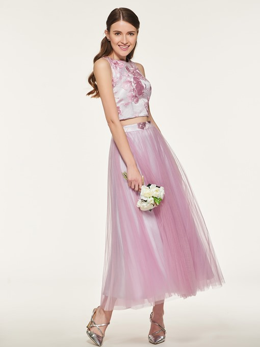 Ericdress Two Pieces A Line Tulle Bridesmaid Dress