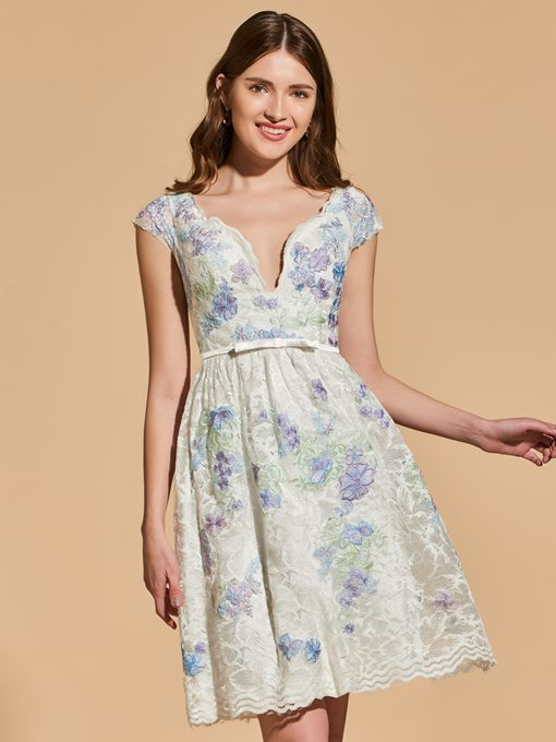 Ericdress Short Cap Sleeve Lace Cocktail Dress With Bowknot
