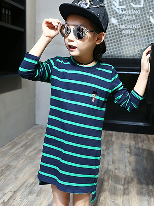 Ericdress Asym Stripe Girl's Long T-Shirt