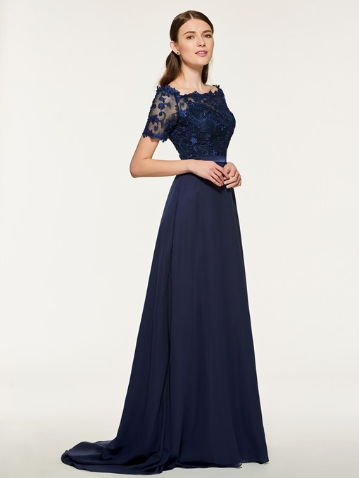 Ericdress Bateau Neck Short Sleeve Lace Bridesmaid Dress