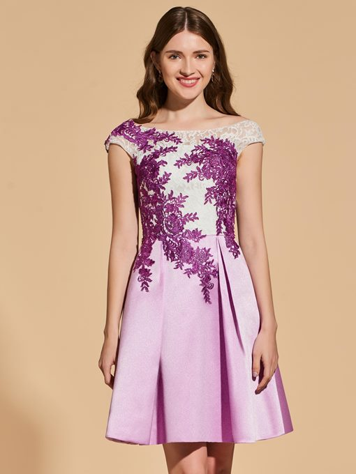 Ericdress A Line Cap Sleeve Short Backless Cocktail Dress With Applique